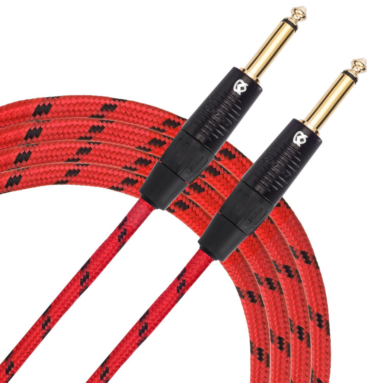 KLIQ Guitar Instrument Cable, 10 Ft - Custom Series with Premium Rean-Neutrik 1/4