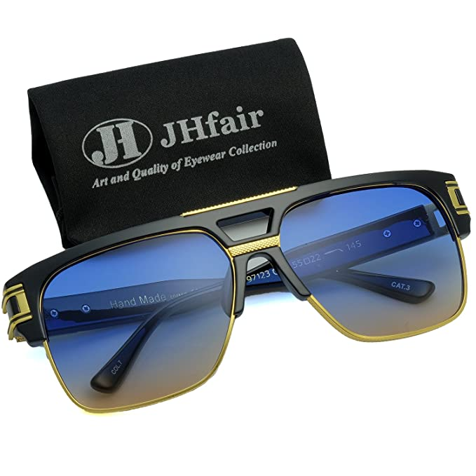 a2db694bfd72 JHfair Designer Square Aviator Large Fashion Retro Sunglasses For Men Flat  Top Frame