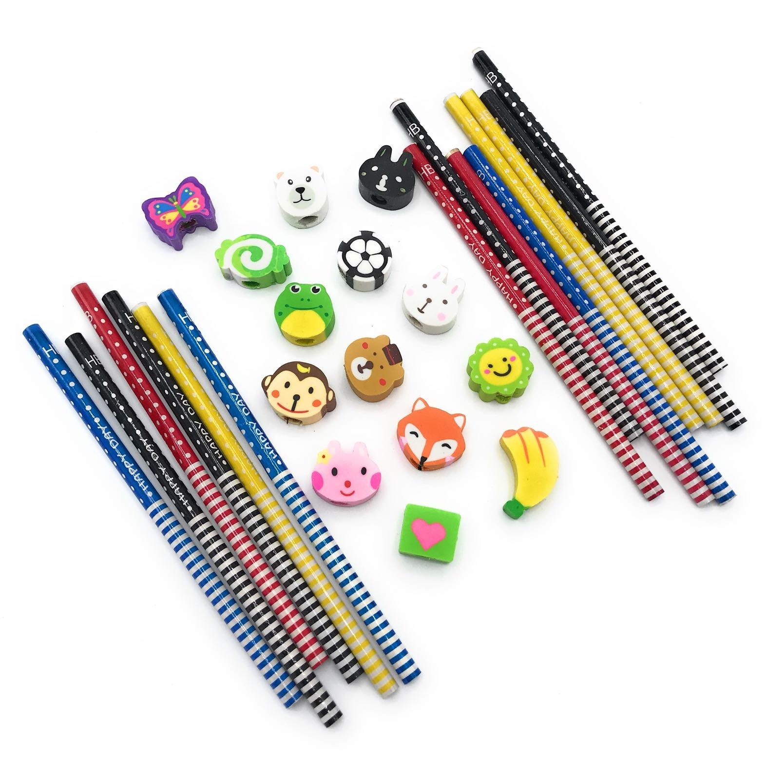 Gennilo Pack of 40 Pencils with Erasers Colorful Novelty Cartoon Animals' Stripe Eraser Wood Pencils (7.28'') for Students & Children Gift (40pcs cartoon pencil with eraser), Animals Assorted by Gennilo (Image #3)