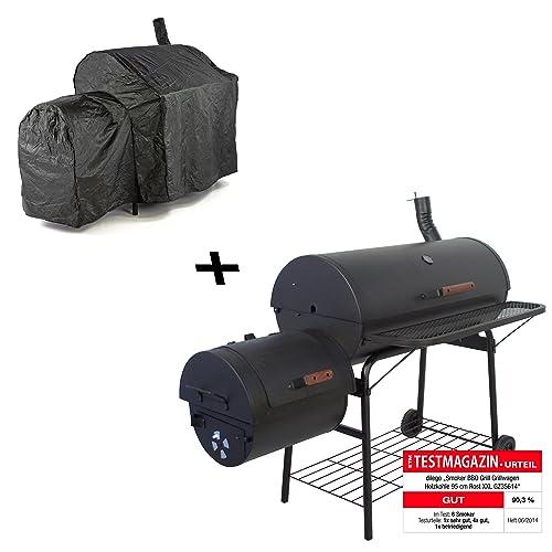 Nexos Smoker BBQ Grill Grillwagen Holzkohlegrill 95cm Rost 160 x 124 x 70 cm XXL 57kg mit Schutzhülle 120gPVC