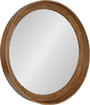 Amazon Com Kate And Laurel Basking Round Wood Wall Mirror 30 Warm Caramel Brown Wooden Rustic Wall Decor Furniture Decor