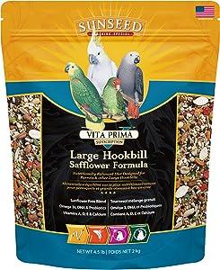 Sunseed 49060 Vita Prima Sunscription Lg Hookbill Pet Bird Food - Safflower High-Variety Formula, 4.5 LBS