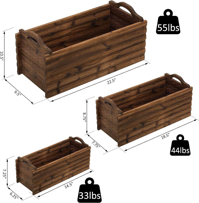 Outsunny 3 Pieces Wooden Rectangular Garden Flower Bed Planter Box W//Handle