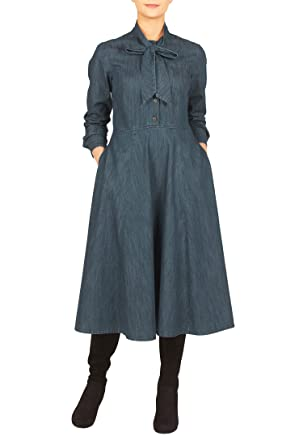 ae3faf7848f eShakti Women s Tie neck cotton denim midi dress UK Size 24W   Regular  height Sapphire blue