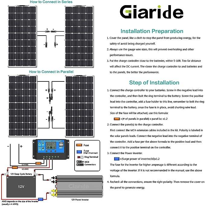 Solaranlage 12V 24V off Grid 100W PV MONOKRISTALLIN Solarpanel 20A Laderegler