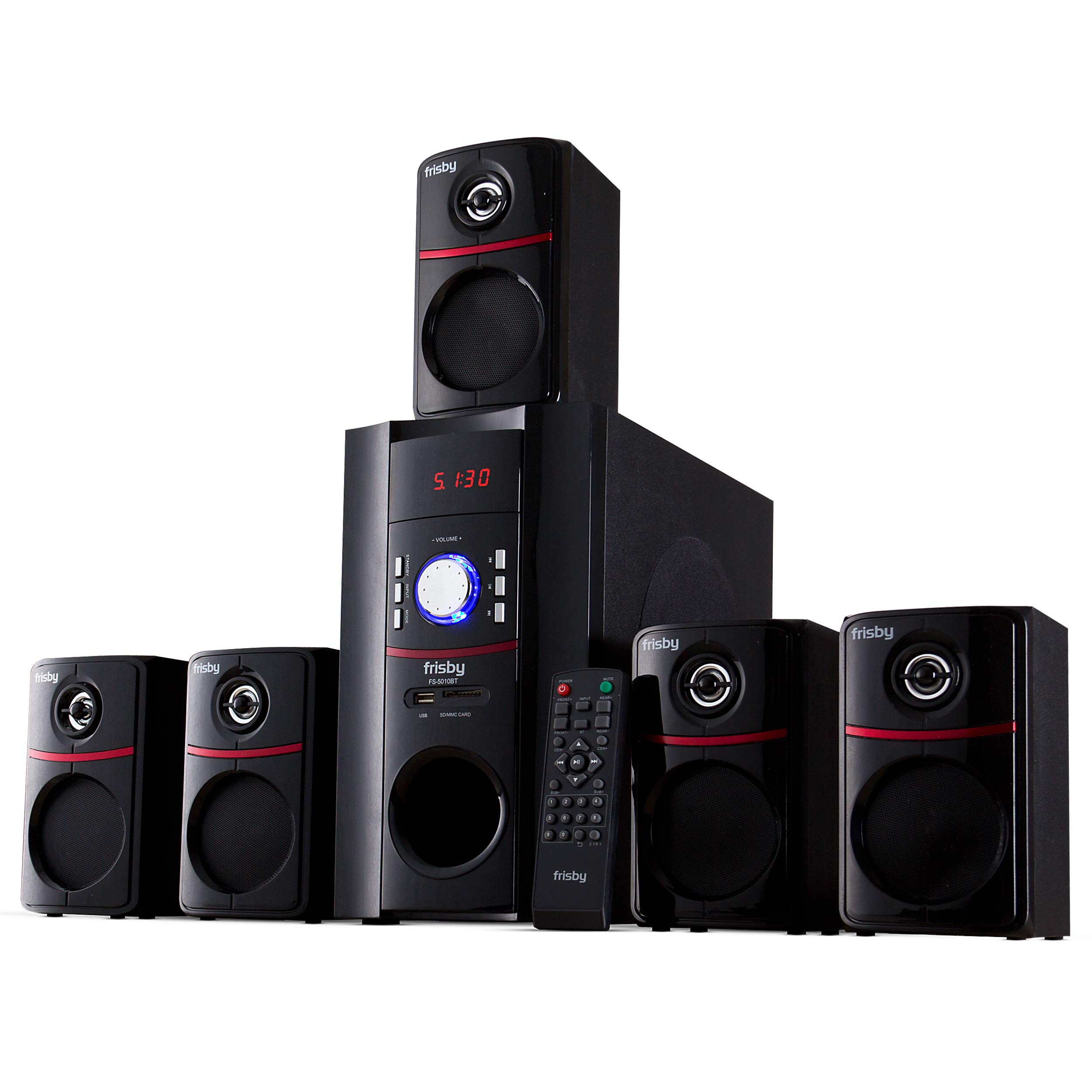 Frisby 5.1 Surround Sound System with Subwoofer and Wired Speakers, Bluetooth Wireless Streaming from Devices & Media Reader, Home Theater Speaker System in a Box - Black