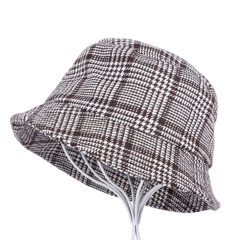 New Men Women Plaid Bucket Hat Casual Cap Fabric Flat Design Spring Summer Autumn Female Girl hat