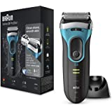 Braun Series 3 ProSkin 3080s Electric Shaver, Wet and Dry Electric Razor for Men with Pop Up Precision Trimmer and Charging Stand, Rechargeable and Cordless Shaver, Black/Blue