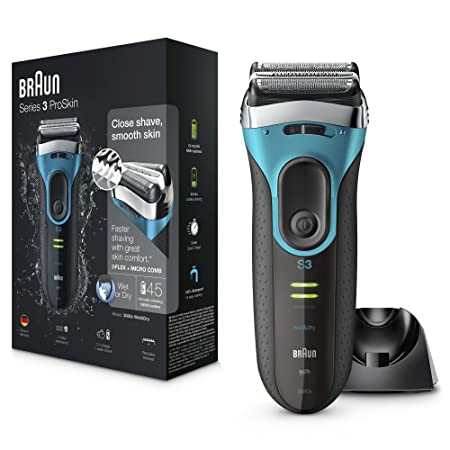 Braun Series 3 ProSkin 3080s Electric Shaver, Wet and Dry Electric Razor for Men with Pop Up Precision Trimmer and Charging Stand, Rechargeable and Cordless Shaver, Black/Blue-Best-Popular-Product