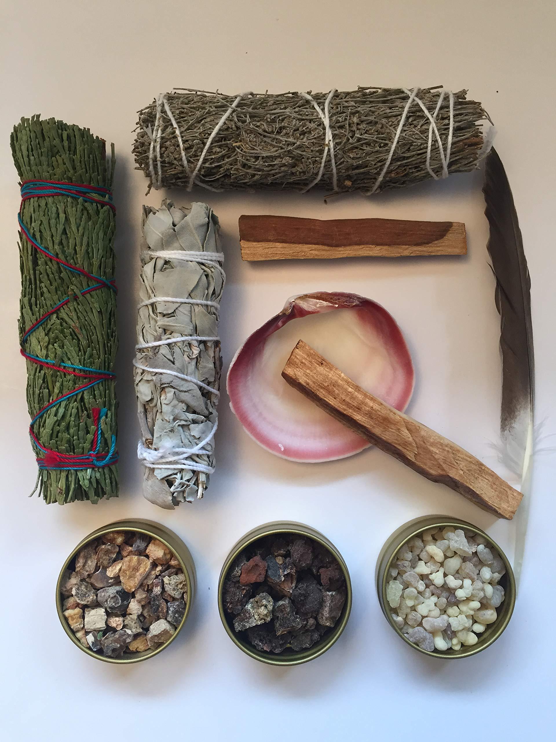 Sacred Scents For You Resin Incense and Sage Smudges Variety Gift Set Includes: Blue Sage, Cedar, White Sage & Palo Santo Wood. Frankincense, Myrrh & Mayan Copal Resins by Sacred Scents For You (Image #3)