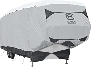 Classic Accessories Over Drive SkyShield Deluxe 5th Wheel Trailer Cover, Fits 33' - 37' Trailers - Water Repellent RV Cover (80-365-101801-EX)