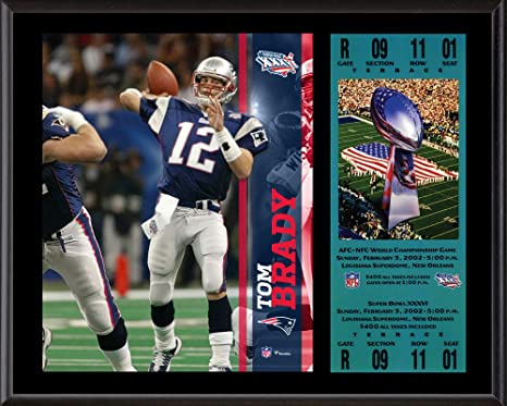 Tom Brady New England Patriots 12 quot  x 15 quot  Super Bowl XXXVI Plaque  with Replica b016e31ce
