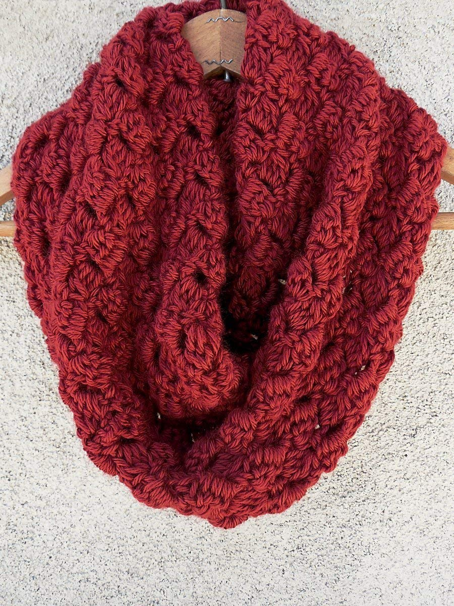 Autumn Red Warm Criss Cross Handmade Cowl Scarf