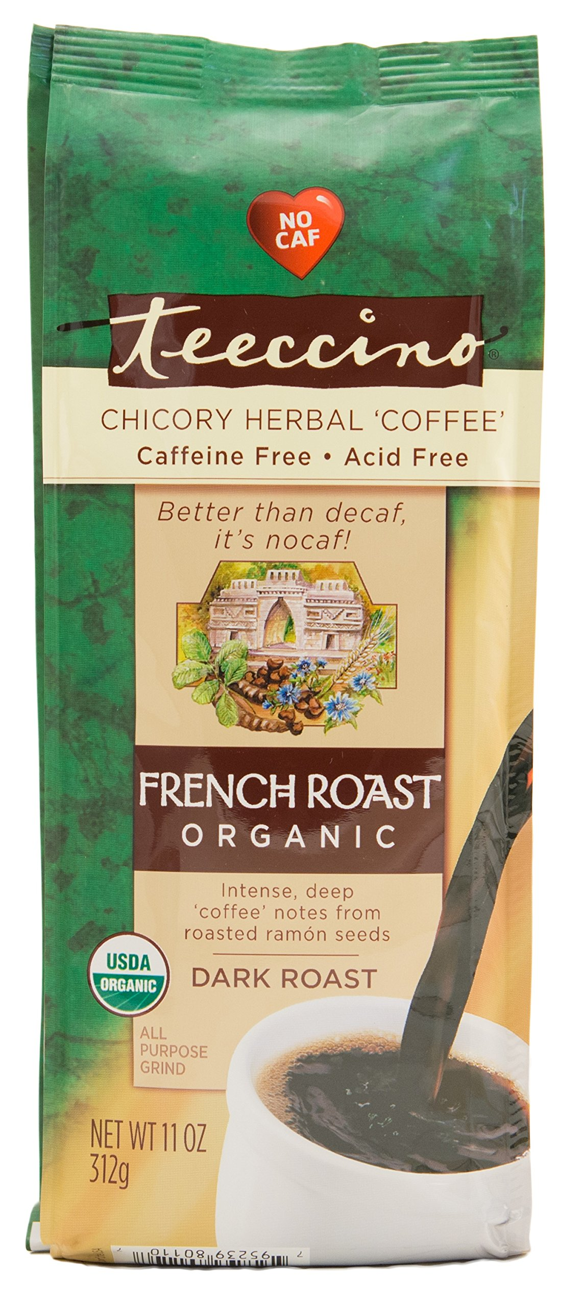Teeccino French Roast Organic Chicory Herbal Coffee Alternative, Caffeine Free, Acid Free  11 Ounce (Pack of 3)