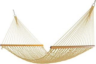 product image for Nags Head Hammocks NH13TAN Double Tan Duracord Rope Hammock with Free Extension Chains & Tree Hooks, Handcrafted in The USA, Accommodates 2 People, 450 LB Weight Capacity, 13 ft. x 55 in.