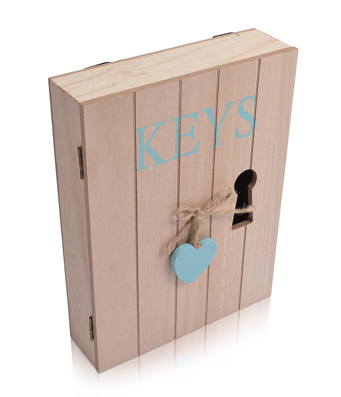 CHICCIE Schl/üsselschrank aus Holz mit Herz Blau 6 Haken Landhaus Vintage Shabby Chic H x B x T 24cm x 18cm x 5cm