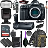 Canon EOS 5D Mark IV Digital SLR Camera Body with Pro Camera Battery Grip, Professional TTL Flash, Deluxe Backpack 200EG, Universal Timer Remote Control, Spare LP-E6 Battery (16 items)