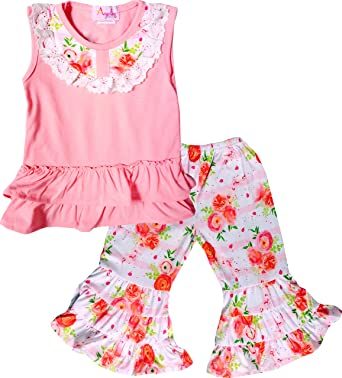 0469a672489 Amazon.com  Baby Toddler Little Girls Spring Summer Easter Floral Ruffles  Capri Sets  Clothing