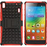 DMG Shockproof Authentic Kickstand Bumper Cases and Back Covers for Lenovo A7000 (Kickstand Red)
