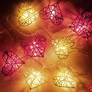 Heart String Lights, Vintage 3D Rattan Heart Shaped String Light, 6.5 ft 12 LEDs Fairy Battery Operated Twinkle Light for Mother's Day Wedding Indoor Outdoor Bedroom Garden Home Party Decoration
