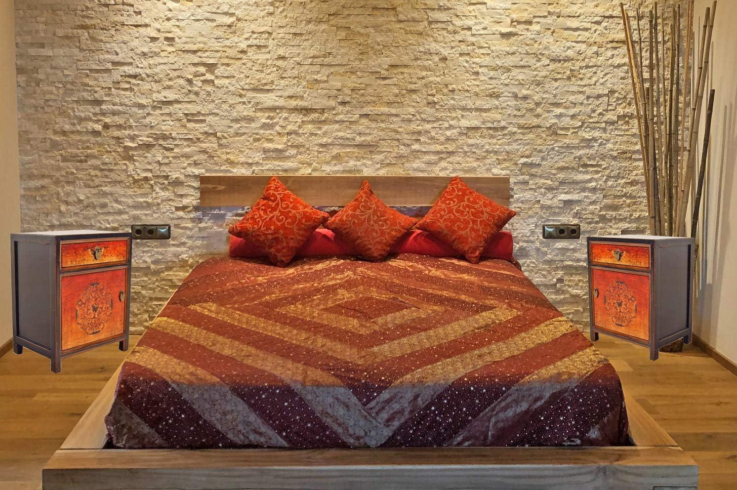 OPIUM OUTLET Mesita de Noche Dormitorio Vintage China Antigua Oriental Naranja, Comoda pequeña asiatica Entrada Madera