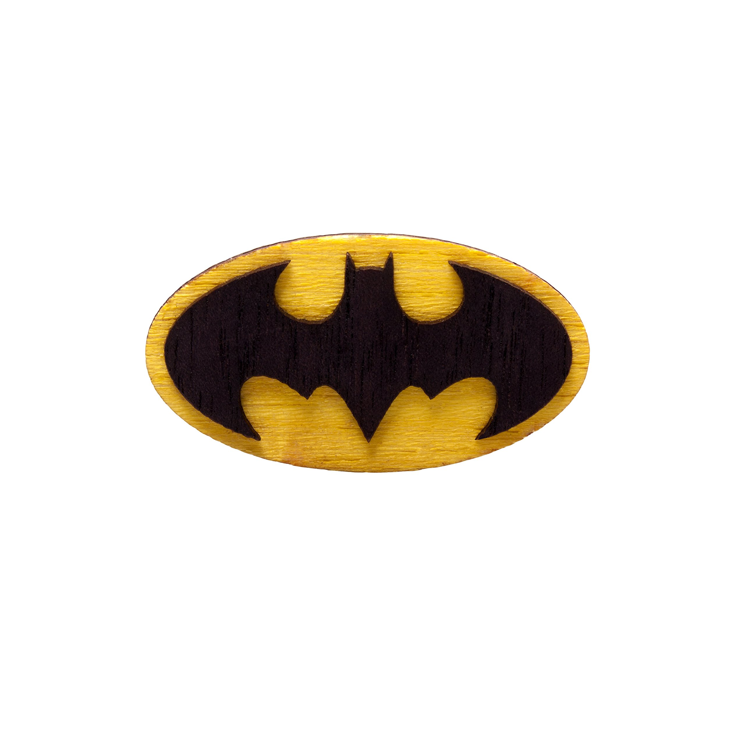 Waf-Waf Batman Logo Yellow and Black Lapel Pin DC Comics Wood Style Brooch for Suit, Shirt, Cap or Backpack