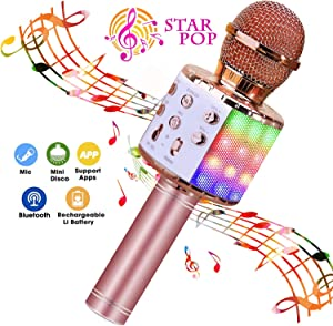 BlueFire Wireless 4 in 1 Bluetooth Karaoke Microphone, Portable Speaker Machine, Handheld Home KTV Player with Record Function for Android & iOS Devices (Pink)