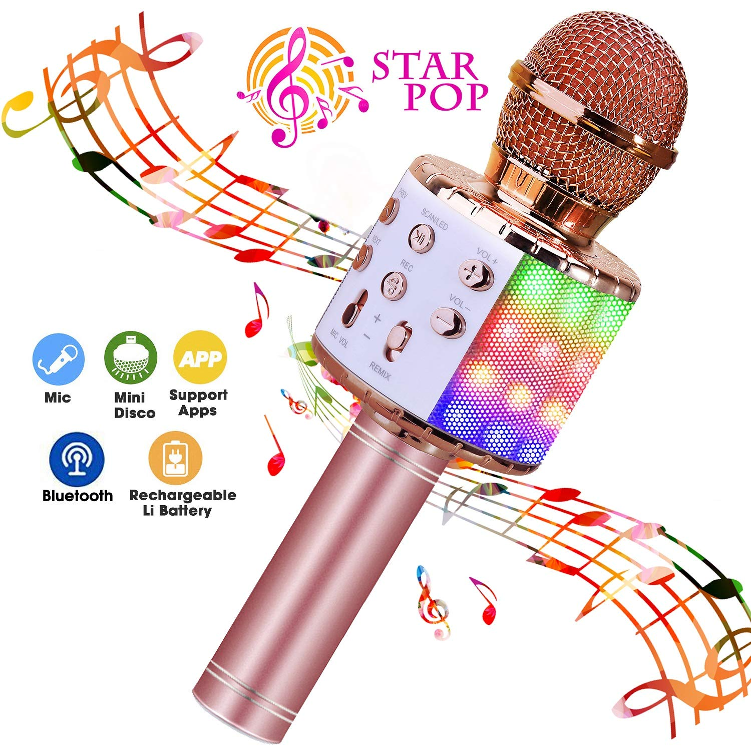 BlueFire Wireless 4 in 1 Bluetooth Karaoke Microphone, Portable Speaker Machine, Handheld Home KTV Player with Record Function for Android & iOS Devices (Pink) by BlueFire