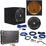 "Package: KICKER 43C124 Comp 12"" 300W Car Subwoofer + Rockville RXA-T1 Car Amplifier 1500W 2 Channel Bridgeable + Amp Kit + Sealed Sub Enclosure + Single Enclosure Wire Kit W/ 14 Gauge Speaker Wire"