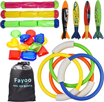 Mixed Colors ITOY Underwater Swimming Diving Pool Toys Including Torpedo Bandits 4 pcs for Swimming Pool Use Surfing Toys Underwater Bath Toys Fun