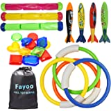 Fayoo 23 Pack Underwater Swimming/Diving Pool Toys Diving Rings(4 Pcs), Toypedo Bandits(4 Pcs), Diving Sticks(3 Pcs…