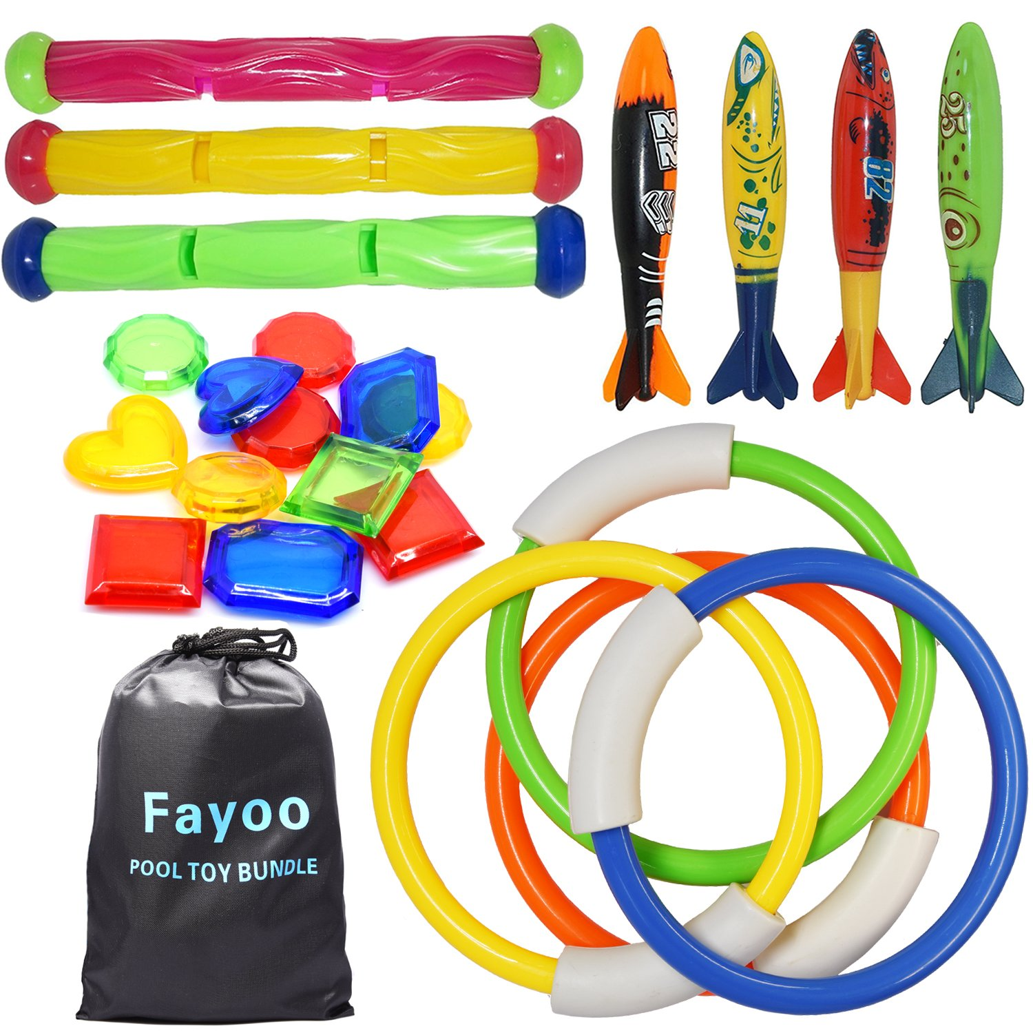 Fayoo 23 Pack Underwater Swimming/Diving Pool Toys Diving Rings(4 Pcs), Toypedo Bandits(4 Pcs), Diving Sticks(3 Pcs) with Under Water Treasures (12 Pcs) best summer water toys