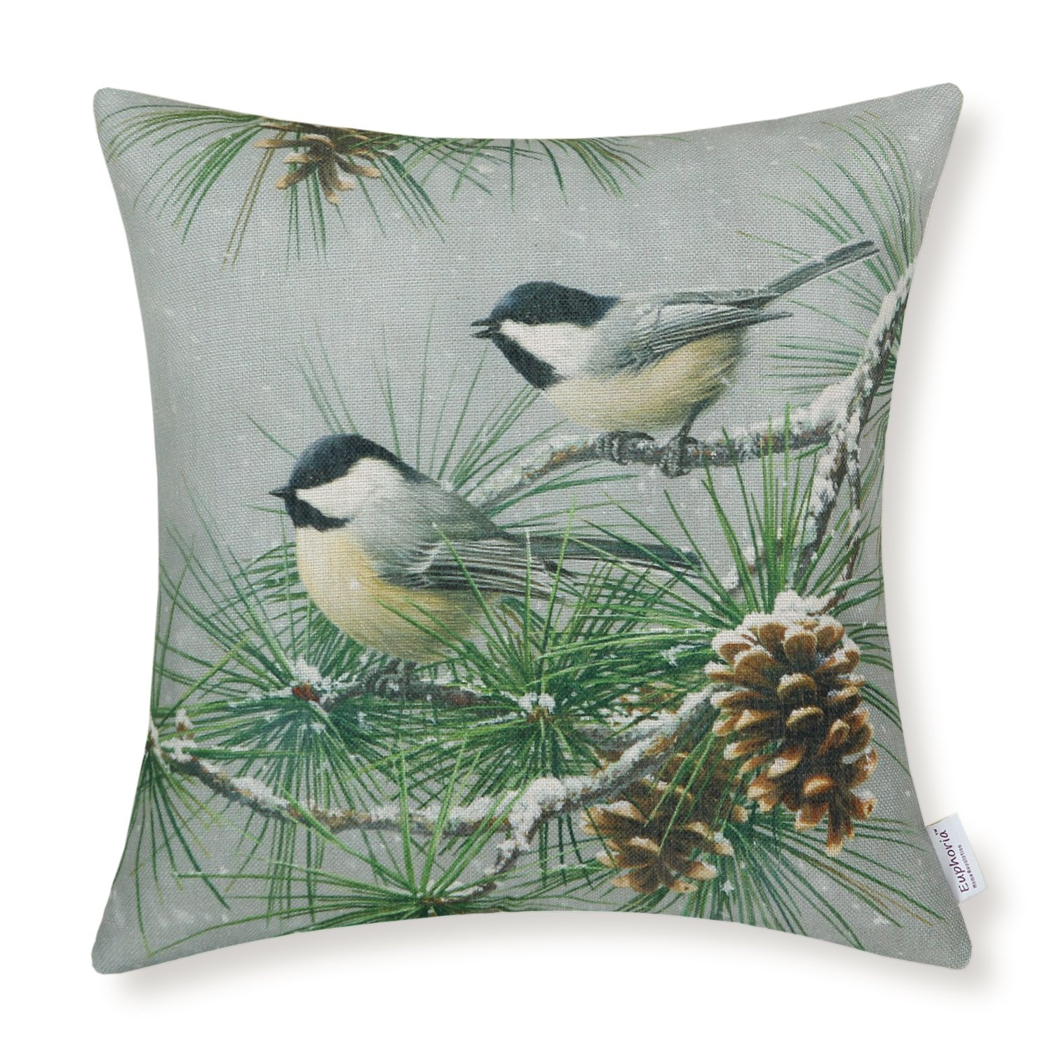 CaliTime Throw Pillow CoverWild Chickadees, Pinecones