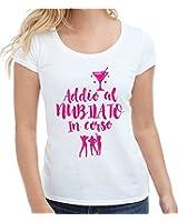 T-shirt donna manica corta in cotone ADDIO AL NUBILATO IN CORSO frasi divertenti