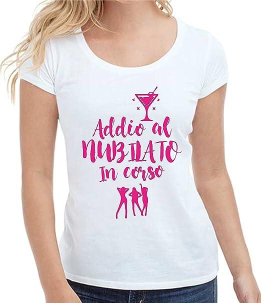Bemode T,Shirt Donna Manica Corta in Cotone Addio al Nubilato in Corso  Frasi Divertenti Amazon.it Abbigliamento