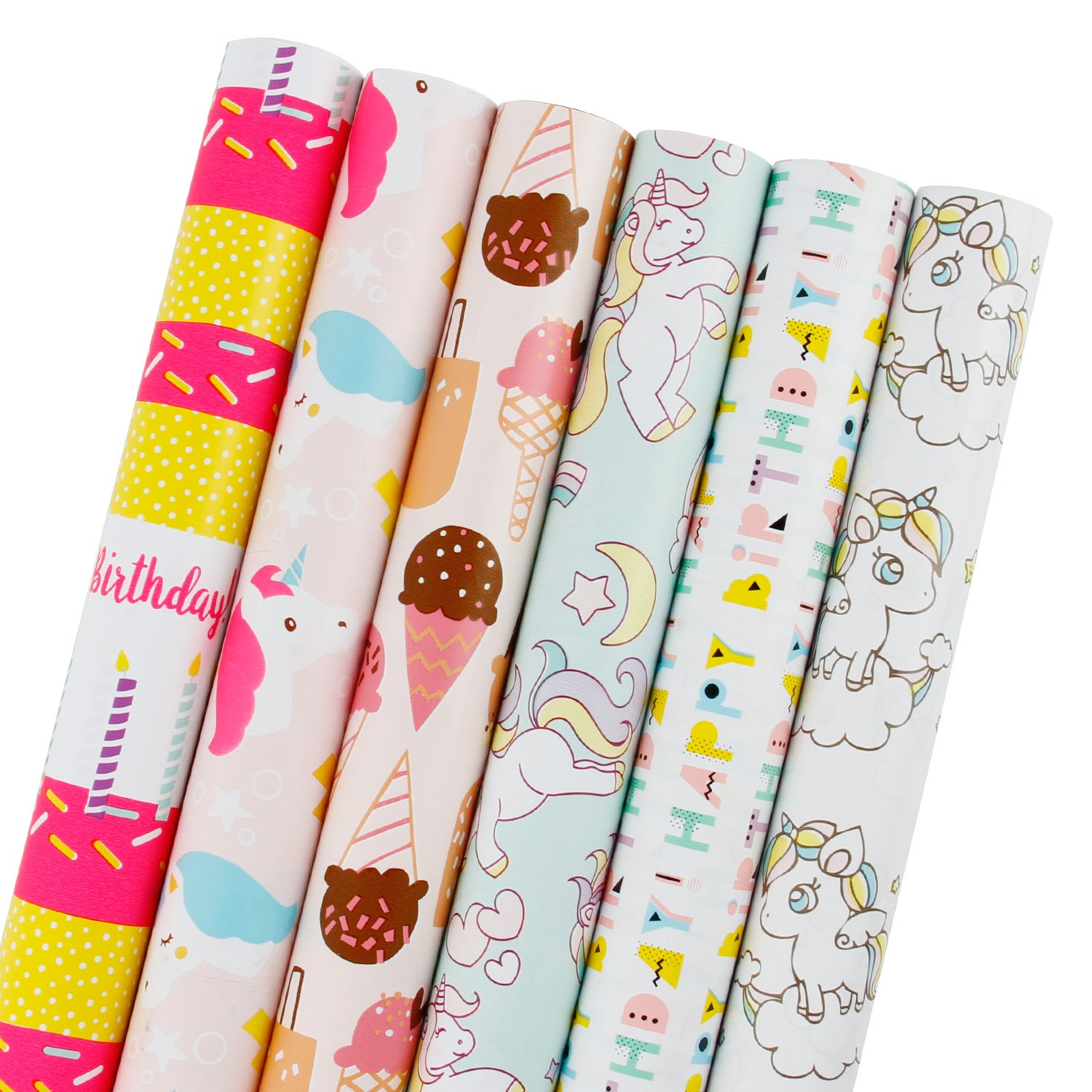 LaRibbons Birthday Gift Wrapping Paper - Unicorn, Ice Cream, Candles Cute Design for Holiday, Party, Baby Shower Gift Wrap - 6 Rolls - 30 inch X 120 inch per Roll
