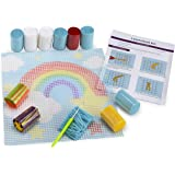 "Rainbow DIY Latch Hook Kit - Sew Your Own 12""x12"" Fuzzy Rug - Includes Canvas, Tool, Instructions, Acrylic Yarn - Crochet and Needlework Crafts for Kids and Adults - by Zirrly"