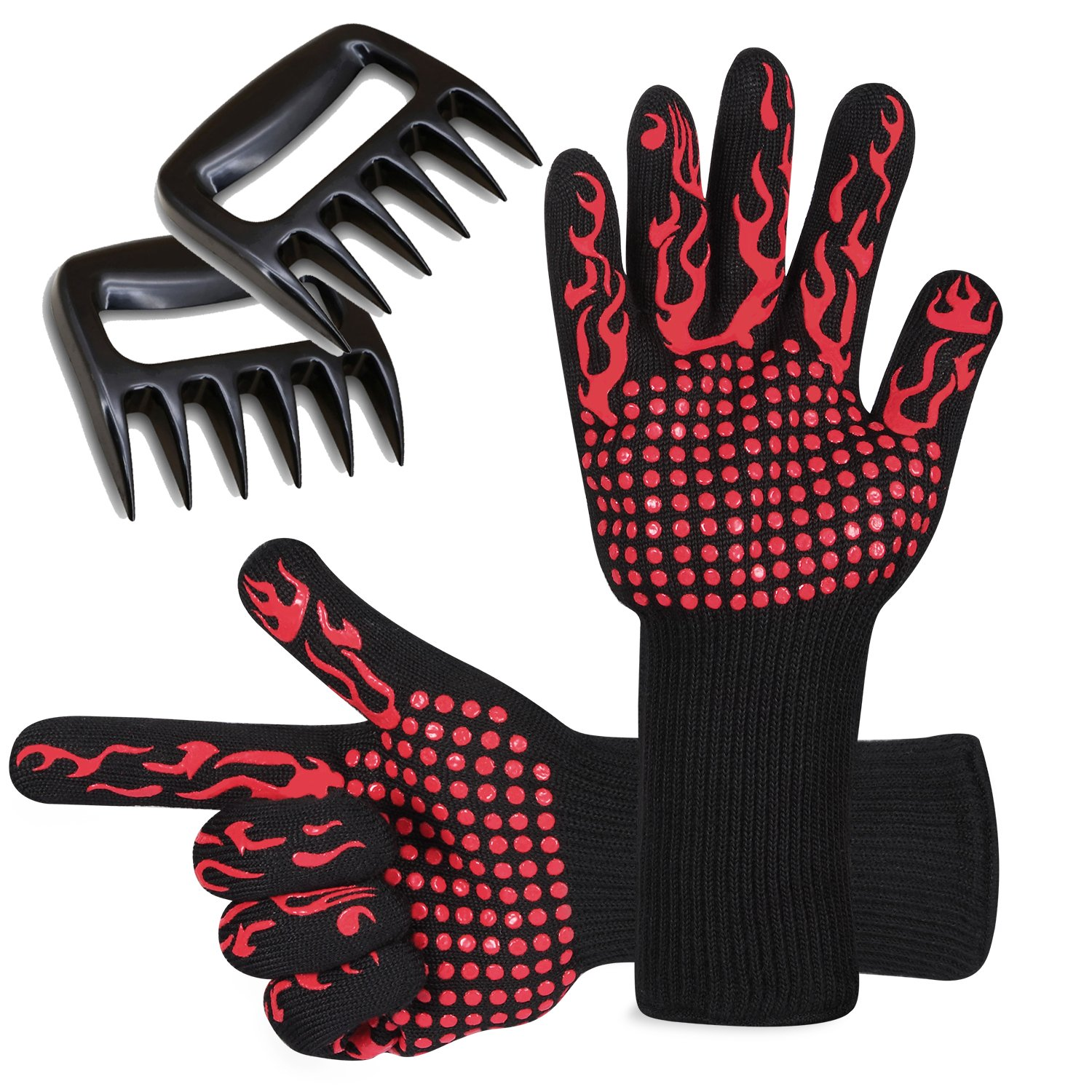 Prumya BBQ Gloves and Meat Shredder Claws Set, Heat Resistant Grilling Cooking Gloves Oven Mitts & Pulled Pork Claws, Home kitchen Accessories BBQ Tool for Outdoor and Indoor Use GL02