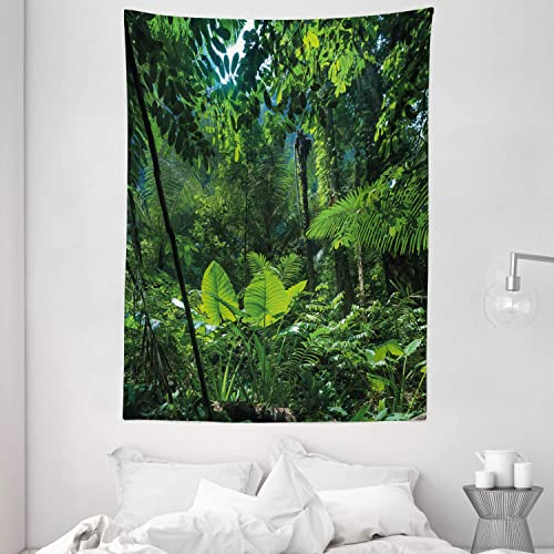 Ambesonne Plant Tapestry, Green Jungle Untouched Nature Environmental Concerns Flora Fauna Jungle Rainforest, Wall Hanging for Bedroom Living Room Dorm, 60 X 80 , Green Black