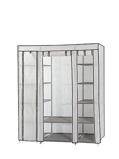 Home & Garden White Canvas Wardrobe And Shelf Rack Furniture