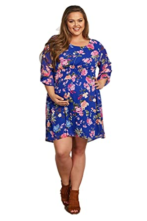 041476fd91 Image Unavailable. Image not available for. Color  PinkBlush Maternity  Royal Blue Floral 3 4 Sleeve Chiffon Plus Size Dress ...