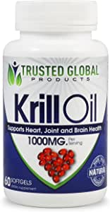 Krill Oil 100% Pure Cold Pressed Antarctic Krill Oil by Trusted Global Products - 1000 mg per Serving - Omega 3, EPA, DHA & Astaxanthin - Optimal Brain Health, Memory, Focus, Joint & Cardiovascular