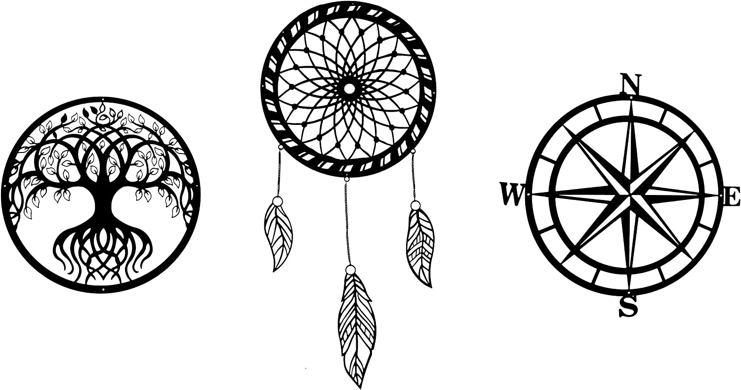 Metal Wall Décor – Set of 3 - Outdoor Art with Tree of Life, Compass and Dream Catcher – Carbon Steel Metal Décor for Indoor and Outdoor – Large Decoration Pieces with Metal Chain – Easy to Install