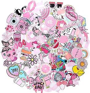 150 Piece Cute VSCO Stickers for Water Bottles, Lovely Aesthetic Hydro Flask Stickers Waterproof Pink Stickers Skateboard Stickers for Teens Girls Water Bottle Laptop Guitar Phone