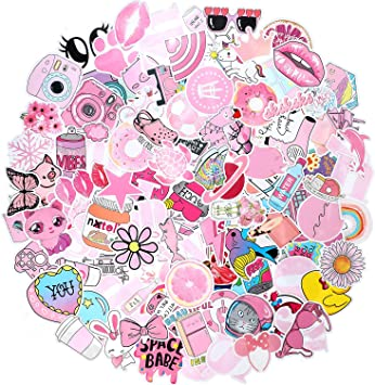 Roberly 103 Piece Cute VSCO Stickers for Water Bottles Lovely Aesthetic Stickers Waterproof Pink Stickers Skateboard Stickers for Girls Perfect for Water Bottle Laptop Guitar Phone