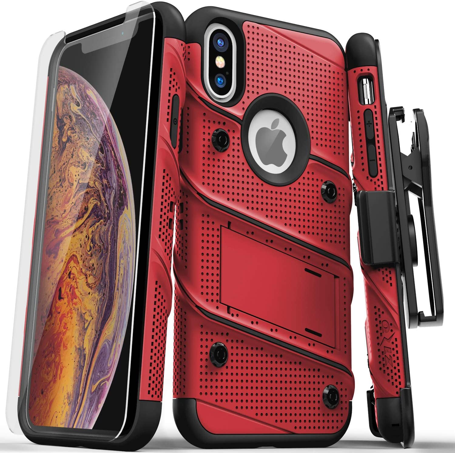 ZIZO Bolt Series for iPhone X Case Military Grade Drop Tested with Screen Protector, Kickstand and Holster iPhone Xs RED Black