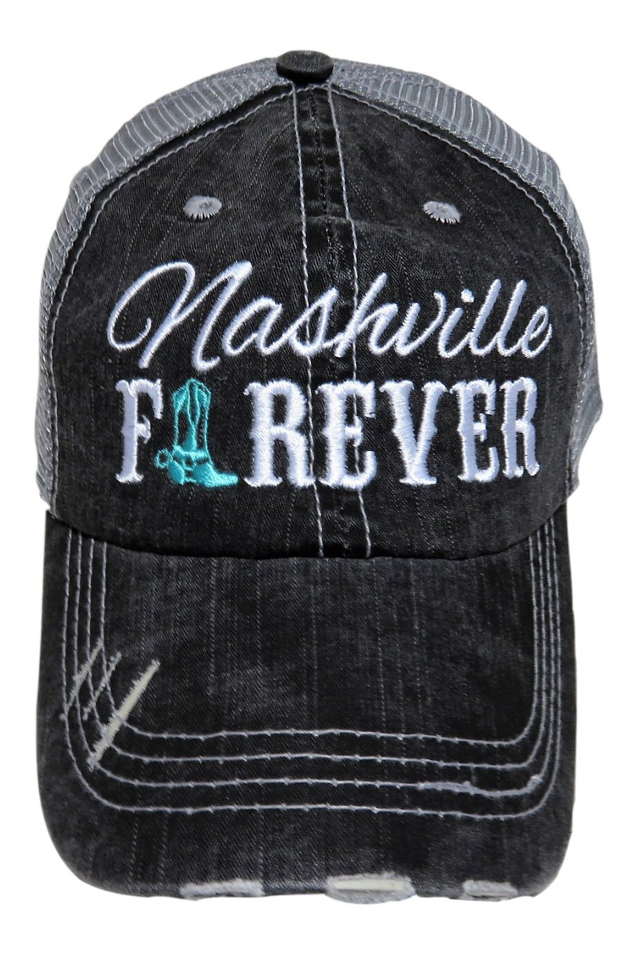 Embroidered ''Nashville Forever'' Grey Vintage Baseball Trucker Cap Hat Western (Mint Cowboy Boot)