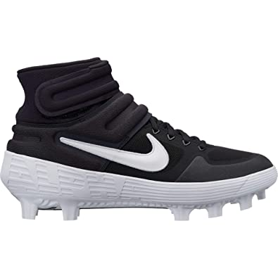 hot sale online 07793 1a596 Nike Men s Alpha Huarache Elite 2 Mid MCS Molded Baseball Cleat Black White  Oil