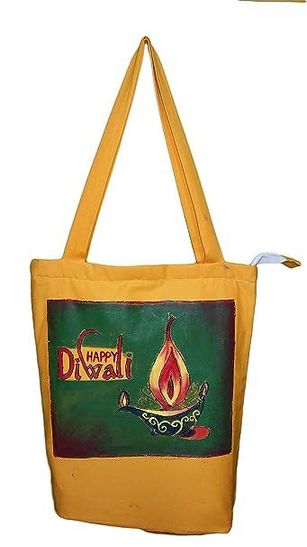 bd7e921792a2 Buy NB WOMEN S FREE HAND PAINTED TOTE BAG (MANGO) (NBTBW024) Online ...