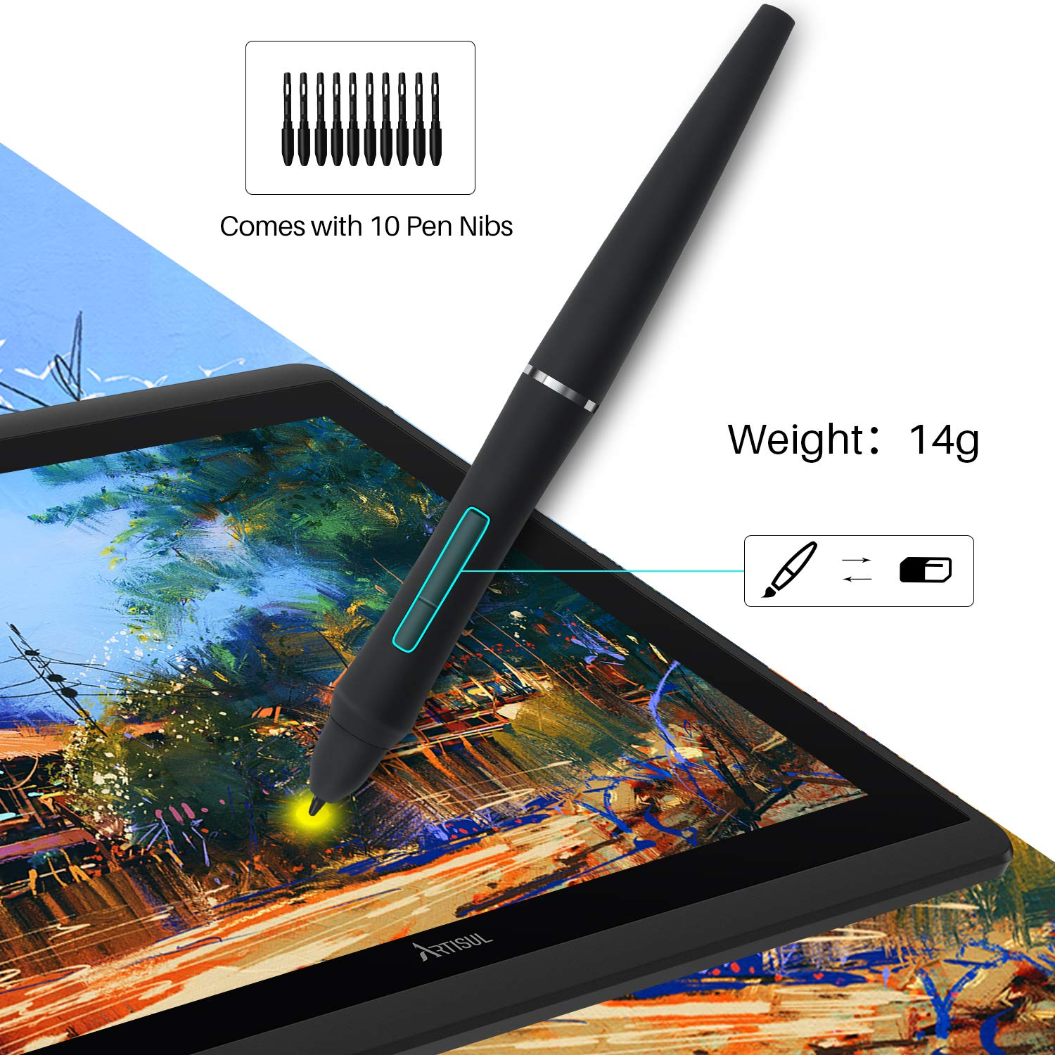 Artisul D16 Graphics Drawing Tablet with Screen 15.6/'/' Pen Display 1920*1080 FHD Drawing Monitor Battery-free Stylus with 8192 Levels of Pen Pressure 7 Customized Shortcut Keys and a Dial--2019 Version